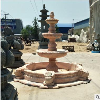 大理石广场水景水钵园林雕塑石雕喷泉流水景观大型厂家定做设计
