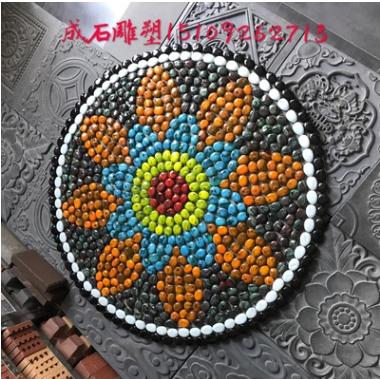 西北陕西西安彩色人造石头疙搭蛋蛋鹅卵石五彩石雨花石