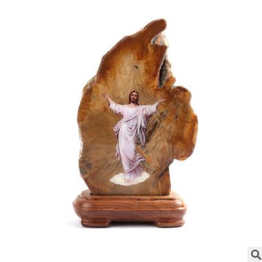 创意基督教耶稣贴画工艺品摆件 进口天然木化石家居饰品 开业礼品