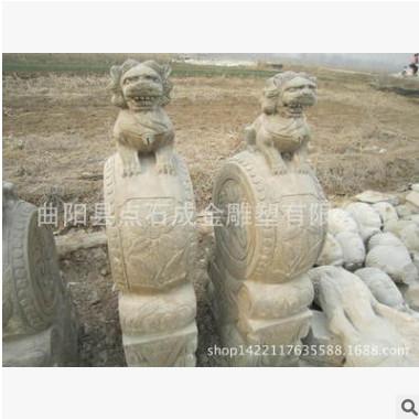 老石雕门墩|工艺品|青石抱鼓石 仿古做旧石门墩|现货石鼓摆件