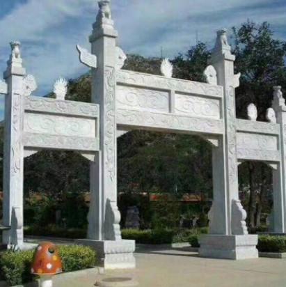厂家定制各种材质大型 石雕山门牌坊 汉白玉牌坊景观雕塑手工雕刻