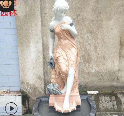 石雕喷泉定制大理石雕刻欧式人物喷泉雕塑景观园林流水石雕摆件