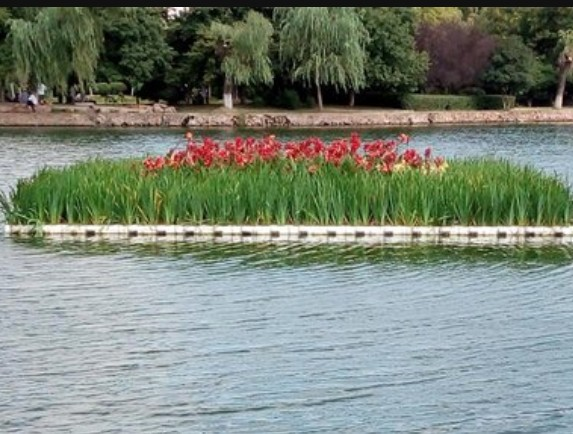 圆形人工浮岛,人工浮床造型,湖泊河道景观造型