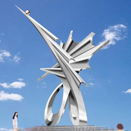 专业定做 科技馆门前大型不锈钢雕塑 创新主题雕塑 含安装