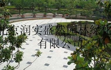 供应庭院装修工程 铺装 喷泉 木桌凳 花盒 垃圾桶选北京润实盛然
