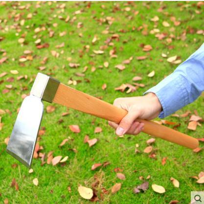 不锈钢木柄大锄头农用户外除草翻土耙子农具种菜种花园艺长柄锄头
