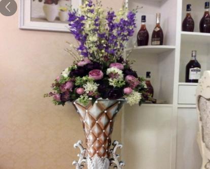 批发新款大号欧式落地树脂玻璃钢陶瓷绢花精致高档花