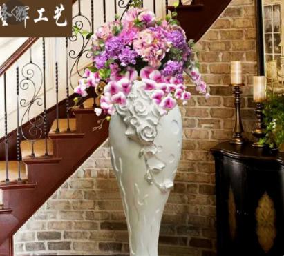 批发新款大号客厅欧式落地树脂玻璃钢陶瓷绢花高