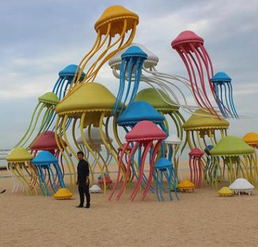 金特雕塑 大型水母雕塑 游乐场不锈钢雕塑 海底世界不锈钢雕塑 大型海洋生物雕塑