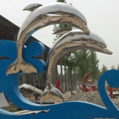 厂家直销不锈钢雕塑摆件 海豚金属雕塑摆件 广场不锈钢雕塑
