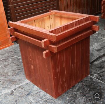 厂家直销户外长方形木质花箱 绿化工程防腐木花箱定制 实木花箱