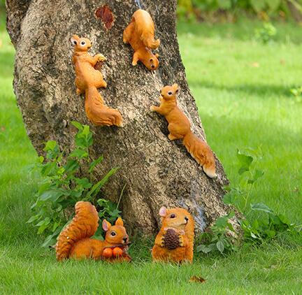 园林景观雕塑小品仿真树脂小松鼠挂饰户外花园庭院装饰品动物摆件